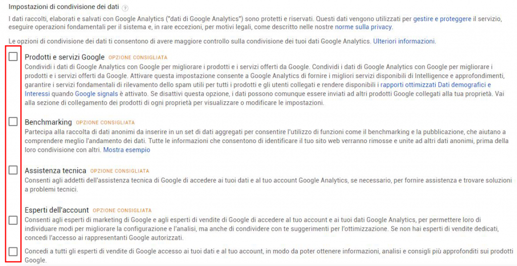 google analytics gdpr condivisione dati